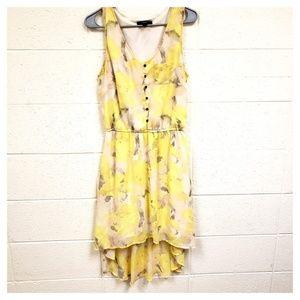 Mossimo Yellow Floral Layer Hi-lo Dress Medium